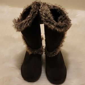 Bearpaw Shelly Suede Fur Boots Chocolate Brown